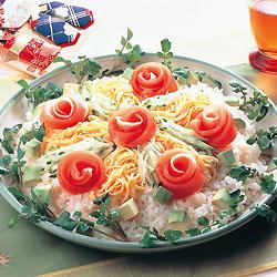 生ハムのバラのちらし寿司