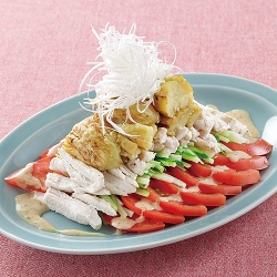 なすと棒棒鶏のサラダ