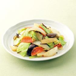 いろいろ野菜で塩昆布炒め